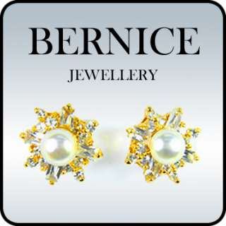 FASHION LADY JEWELRY PEARL TOPAZ RHINESTONES YELLOW GOLD GP STUD