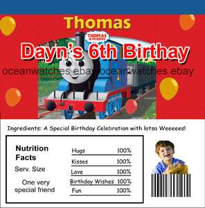 40 Thomas the Train Custom Birthday Candy Wrapper Favors Party