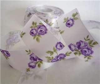 25mm white elegant flower pattern satin RIBBON 5 yard