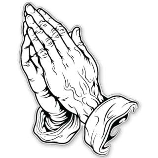 Praying Hands Christian catholic bumper sticker 3 x 5