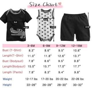 NWT Vaenait Baby Newborn Baby Boys Top Bodysuit Pants 3 Set