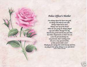 POLICE OFFICER MOM Poem Personalized Name Prayer Rose