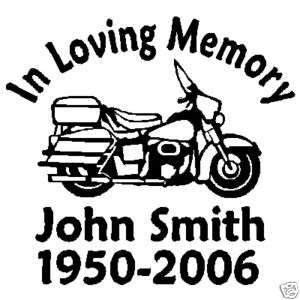 IN LOVING MEMORY POLICE MOTORCYCLE CUSTOM STICKER DECAL