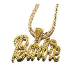NEW NICKI MINAJ BARBIE Pendant w/Franco Chain Gold Sm Yellow Jewelry