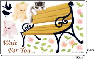 WDC 701 Bench & Cat, Decals Home Art Decor Wall Sticker
