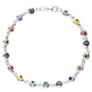 Evil Eye Bracelet Sterling Silver Murano Mini Beads