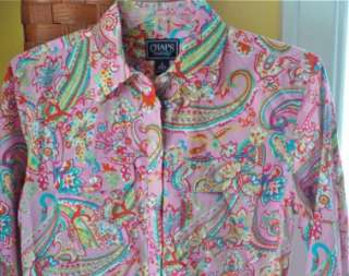 CHAPS BLOUSE Shirt Top~Pink Paisley Cotton Fabric~S~NWT~3/4 Sleeve~NEW