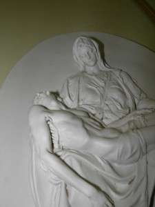 ITALIAN PIETA BISQUE WALL PLAQUE RELIEF SIGNED