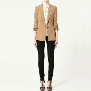 CLASSIC ONE BUTTON ROLLED SLEEVE BLAZER JACKET L 71003
