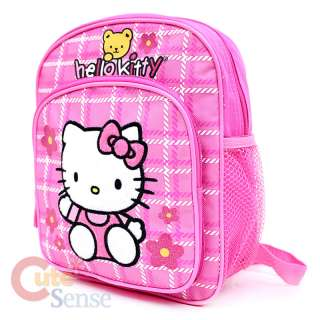 Kitty School Backpack Toddler Bag 10 Pink Flowers with Teddy Bear