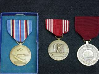 WWII US MEDAL GROUP TO A USA WWII NAVY VETERAN 3 MEDALS