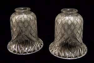 Set of 2 Heavy Glass Lamp Shades Frosted Light Globes