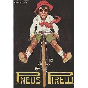 BOY RIDING A BICYCLE BIKE CYCLES PNEUS TIRES SMALL VINTAGE POSTER