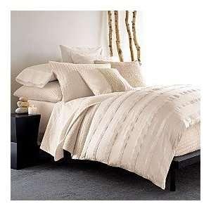 Donna Karan Bedding, City Stripe Taupe Beige Silk Full
