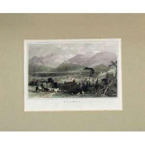 : 1840 Hand Coloured Print View Planta Mountain Town: Home & Kitchen