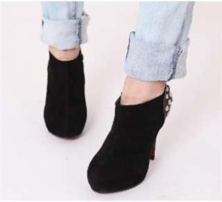 Synthetic suede studded high heel ankle shoes booties