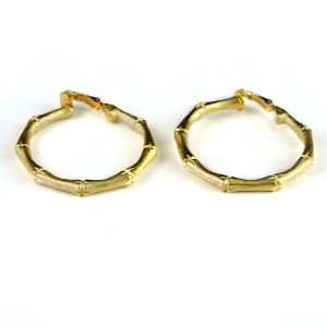 Kenneth Jay Lane Gold Bamboo Hoops Clip On Kenneth Jay