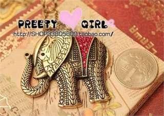 Vintage Style Red Rhinestone Elephant Pendant Sweater Chain Necklace