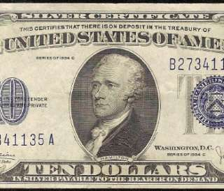 10 DOLLAR BILL SILVER CERTIFICATE BLUE SEAL NOTE Fr 1704 CH VF++ to EF