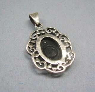Sterling Silver Oval Black Onyx Filigree Pendant