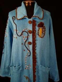 Storybook Knits 2X Blue Knit Long Cardigan Duster Sweater Metallic