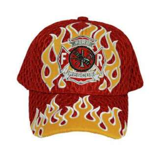 FIRE RESCUE SHIELD RED YELLOW FLAMES MESH HAT CAP OSFA