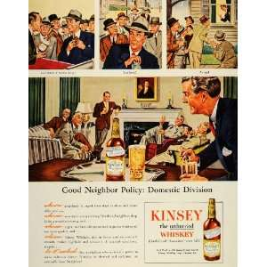 1945 Ad Kinsey Blended Whiskey Cocktails Linfield PA   Original Print