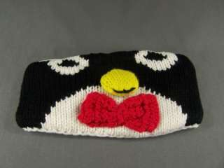 penguin face knit ear warmer muff head wrap hat headband fleece