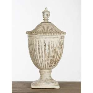 Oriana French Country Carved Wood Decorative Urn Home