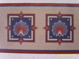 ROLLS (45ft) rust, blue & light brown emblem & dot wallpaper border