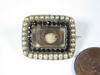 QUALITY ANTIQUE ENGLISH GOLD PEARL HAIR MOURNING PIN