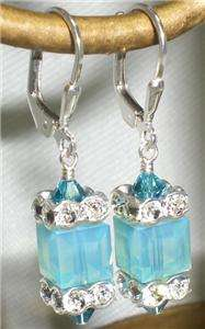 Pacific Opal Blue Crystal Leverback Cube Earrings Made with Swarovski