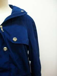LONDON FOG BLUE 3/4 TRENCH COAT SIZE SMALL WITH HOOD NEW WITH TAGS