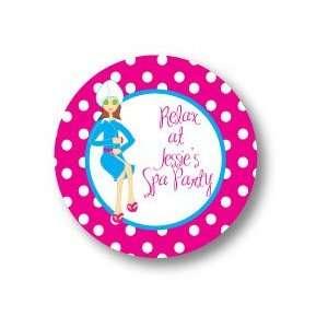 Polka Dot Pear Design   Round Stickers (Spa   509r)