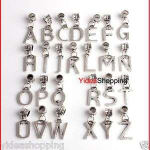 Tibetan Silver alphabet Letter Dangle Pendant Beads