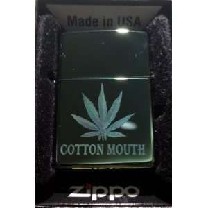 Zippo Custom Lighter   POT Weed Marijuana Ganja Leaf Cotton Mouth Logo