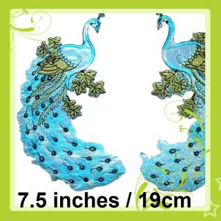 i501 Iron On L Blue Applique Chinese Peacock Bird 1Pair