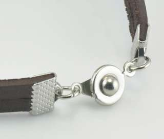 cool mens women brown Leather Bracelet Stainless Steel Clasp bullet
