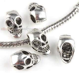 50 New Silver Plated Skull Charms Bead Free P&P 151126