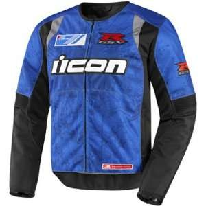 Icon Overlord GSX R Mens Textile On Road Motorcycle Jacket   Blue