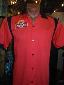 Zombie skull Old Milwaukee beer red/ bl bowling shirt