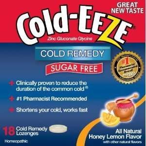 Cold Eeze Cold Remedy, Sugar Free, Lozenges, Natural Honey