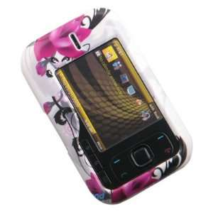 Crystal Hard WHITE Cover with Dark Pink Flowers Design
