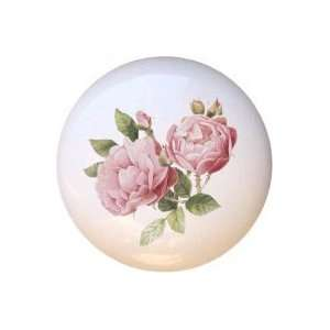 Light Pink Roses Flowers Floral Drawer Pull Knob