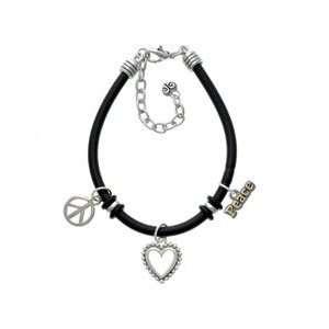 Peace on Silver   Black Peace Love Charm Bracelet [Jewelry] Jewelry