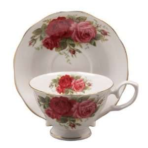 Red Old Country Rose Bone China Tea Cup & Saucer Set