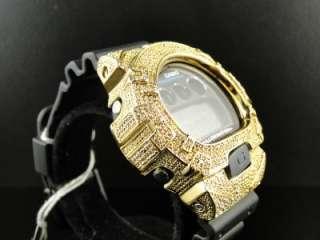 CUSTOM MENS G SHOCK/GSHOCK MENS WHITE DIAMOND GOLD COLOR METAL BEZEL