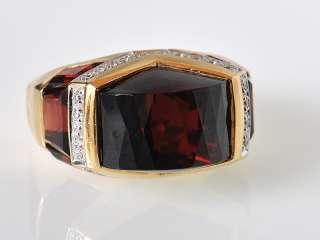 Gadi 18K Yellow Gold Garnet Diamond Domed Ring