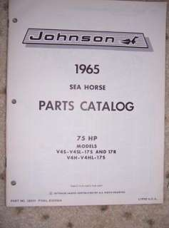 1965 Johnson Motor Parts Catalog 17R Sea Horse 75 HP G