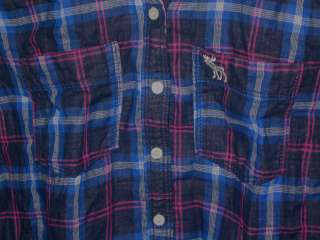 NEW Abercrombie & Fitch Womens Charlie Button Shirt M Navy Plaid